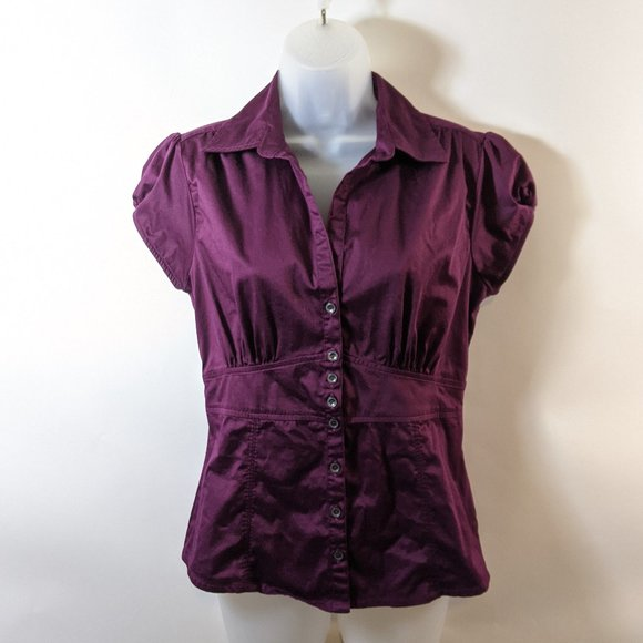 Stretch Button Up Banana Republic Plum Blouse